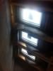 Rohbauphase: Dachflächenfenster im Treppenhaus.